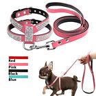 No-pull Small Dog Harness Outdoor Leather Rhinestone Vest Harness And  Leads Set