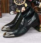 Mens Business Metal Head Pointy Toe Snakeskin Wedding Casual Dress Shoes DFCX