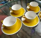 Vera Neumann for Mikasa Vintage Yellow Crocus and White 5 CUPS & SAUCERS Sets