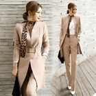 2PCs Ladys OL Suit Sets Belt Business Long Blazer Coat High Rise Straight Pants