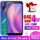 Note10 4gram 64grom 13mp 4g Lte Smartphones Face Id Unlocked Quad Core Android