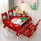 Party Christmas Decoration Tablecloth Table Red Hat Decor Dinner Chair Cover Set