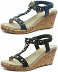 Cipriata Flower Trim Womens Halter Back Wedge Sandals ALL SIZES AND COLOURS