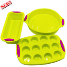 3-Piece Silicone Baking Pan Set - Cake, Muffin & Bread Tins Best Christmas Gifts