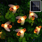 Solar Powered Cute Honey Bee Led String Fairy Light Bee Outdoor Garland Lights