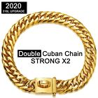 Miami Cuban Link Dog Chain Collar 18K Gold Chain Collar with Safe Metal Buckle