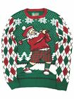 Mens Green Light Up Santa Claus Golf Ugly Christmas Holiday Sweater