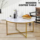Round Coffee Accent Table with Marble Tabletop and X Base Gold Metal Frame