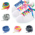 1Pair Fashion Colorful Printing Shoelaces Gradient Shoe Strings Flat Boot Ropes