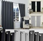 Insulated Heavy Thick Thermal Pair Of Grey Curtains Eyelet Ready Made Ring Top
