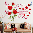 Red Roses Wall Stickers Living Room Couple Bedroom Home Decoration Lz