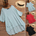 Women Cotton Summer Solid T-Shirt Tops Casual Asymmetrical Tee Shirt Blouse Plus