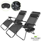 2X Zero Gravity Lounge Chairs Folding Outdoor Beach Patio Recliner w/ Cup Holder