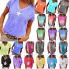 Women Short Sleeve Star / Gradient T-Shirts Summer Baggy Casual Top Plus Size