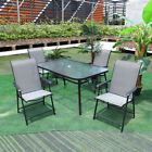 Outdoor Garden Furniture Glass Table & Foldable Chair Set Patio Parasol Table Uk