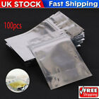 100PCS Resealable Foil Pouch Flat Bags Food Storage Bag Vacuum Pouches Bags UK
