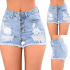 Womens Ripped High Waisted Hot Jeans Shorts Pants Summer Casual Stretch Denim
