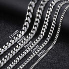 """16-36"""" Stainless Steel Silver Chain Cuban Curb Womens Mens Necklace 3/5/7/9/11mm"""