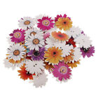 50 Mixed Wooden Craft Flower Buttons Colorful Sew Embellishment Clothing DIY