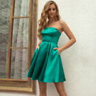 ANGEL FASHIONS Women's Lace Up Back Satin Tube Summer Dress with Pockets 653