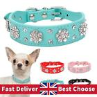 Rhinestone Dog Collar Diamante Leather Pet Puppy Necklace Bling Crystal Collars