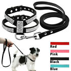 Suede Leather Bling Rhinestone Dog Harness Vest Leads Leash For Small Pet Puppy