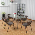 4/6 Seater Patio Furniture Set Garden Glass Parasol Table And Stacking Chairs