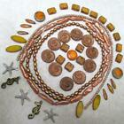 Fossil Disks, PEARLS, Czech spindle/rectangles/squares/dagger/Mayan Sun, Starfis