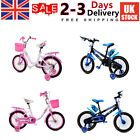 CHILDREN'S GIRLS BOYS BIKE BICYCLE WITH REMOVABLE STABILISERS 12 14 16 INCH UK
