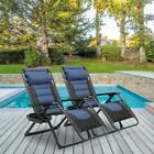 Oversized XL Padded Zero Gravity Chair Padded Patio Lounger Chair with Headrest