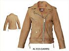 Ladies Womens Brown Leather Motorcycle Jacket Side Lace