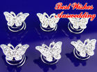 1x Wedding Bridal Butterfly Crystal Twists Hair Pin 2cm