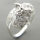 NICE BRILLAINT CUT WHITE CZ 925 SILVER LEOPARD RING FS