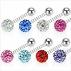 1 SWAROVSKI CRYSTAL FERIDO STAINLESS STEEL BARBELL TONGUE RING 14 GAUGES  5/8""