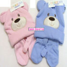 Baby Teddy Bear Ears Super Soft Hat & Matching Mittens Blue or Pink