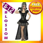 E74 Ladies Gothic Velvet Vampire Queen Fancy Dress Halloween Costume Outfit