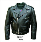 Mens Tall Black Water Buffalo Leather Classic Motorcycle Jacket Zip Out Liner