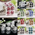 Crystal Rhinestone Cube Cubic Dice Charm Beads Findings Fit European EP Bracelet