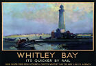 TU7 Vintage 1930's Whitley Bay Railway Travel Poster Re-Print A3/A2