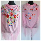 """Pink Spanish flamenco shawls with multicoloured floral embroidery 66"""" x 39"""""""