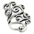 Elegant Sterling Silver Plated Long Swirly Leaf Ring Size 6-9
