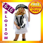 892 Ladies Swashbuckler Pirate Wench Fancy Halloween Costume Outfit Vest & Hat