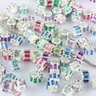 Mix-color Austrian Crystal Cylinder Column EP Charm Beads Findings Fit Bracelet