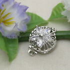 White Gold Plated Crystal Inlayed  Flower Clasp  gp0405