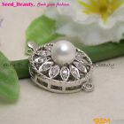 White Gold Plated Crystal & Shell Pearl Clasp gp0425