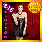 CC26 Peacock Moulin Rouge Burlesque Vegas Showgirl Fancy Dress Costume Corset
