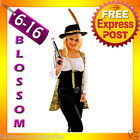 F98 Ladies Pirates Of The Caribbean Angelica Fancy Dress Halloween Costume & Hat