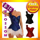 CC20 Ladies Burlesque Showgirl One Shoulder Floral Corset Costume Moulin Rouge