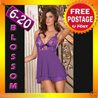 BB78 Purple Baby Doll Dress Babydoll Chemise Slip Chemise Plus Lingerie 6-20