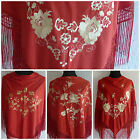 """Red flamenco multicoloured embroided Spanish shawl 66"""" x 39"""" Direct from Spain"""